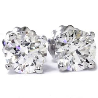 14k White Gold 2 ct TDW Lab Grown Diamond Studs with Screw backs F-G, VS1-VS2)