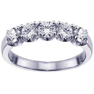 14k/18k Gold or Platinum 1ct TDW Split Prong Diamond Anniversary Wedding Ring