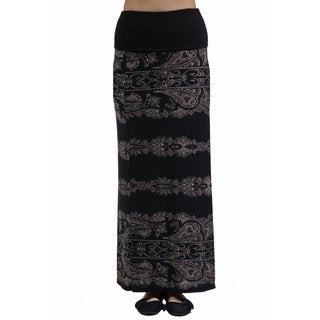 24/7 Comfort Apparel Women's Fall Paisley Printed Fold Over Maxi Skirt
