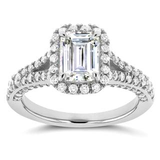 Annello 14k White Gold Emerald Cut Moissanite and 5/8ct TDW Diamond Halo Split Shank Ring (G-H, I1-I2)
