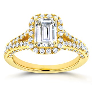 Annello 14k Yellow Gold Emerald Cut Moissanite and 5/8ct TDW Diamond Halo Split Shank Ring (G-H, I1-I2)