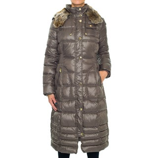 Laundry By Design Knee Length Puffer Coat with Faux Fur Hood