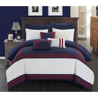 Chic Home Georgette Navy and Red Oversized 10-piece Bed In a Bag with Sheet Set