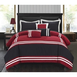 Chic Home Georgette Red and Black Oversized 10-piece Bed in a Bag with Sheet Set