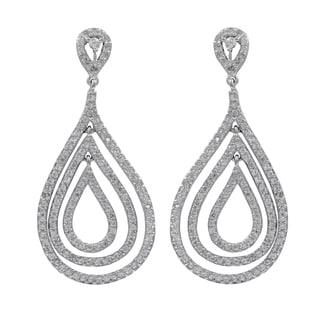 Sterling Silver Pave Cubic Zirconia Floating Teardrop Dangle Earrings