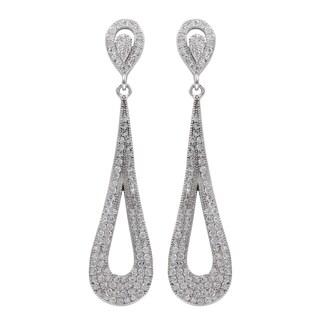 Sterling Silver Micropave Cubic Zirconia Teardrop Dangle Earrings