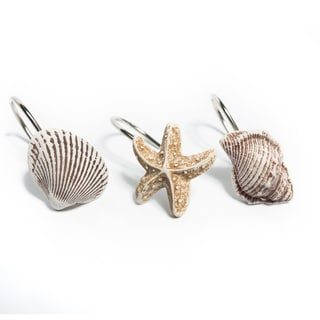 12 Piece Hand Crafted Sea Shells and Starfish Scuba Jewels Shower Curtain Hook Set