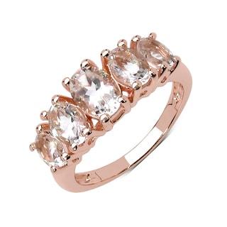 Olivia Leone Sterling Silver Genuine Morganite Ring