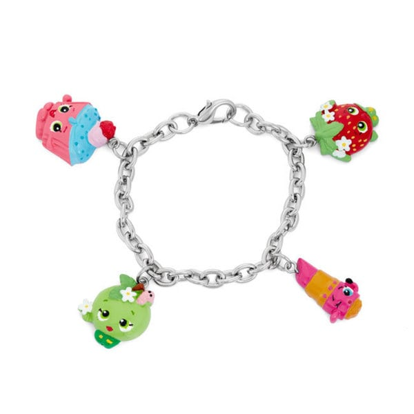Shopkins Silvertone Chidren's Cupcake Chic, Apple Blossom, Strawberry Kiss, and Apple Blossom Charm Bracelet