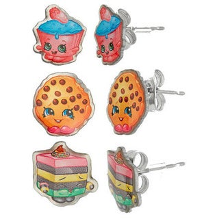 Shopkins Silvertone Chidren's 3-piece Kooky Cookie/ Cupcake Chic/ LeQuorice Colorful Cake Stud Earring Set