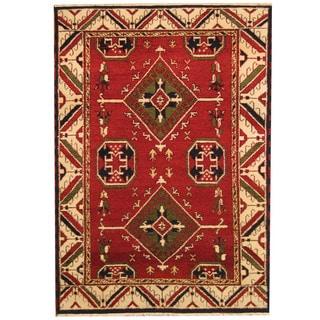 Herat Oriental Indo Hand-knotted Tribal Kazak Red/ Ivory Wool Rug (4'9 x 6'8)