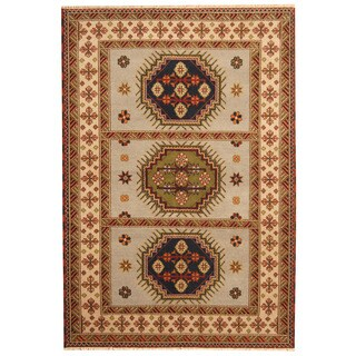 Herat Oriental Indo Hand-knotted Tribal Kazak Gray/ Ivory Wool Rug (5'9 x 8'4)