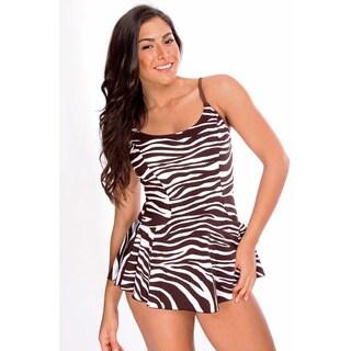 Dippin Daisy's Women's Brown Zebra One-Piece Swimdress