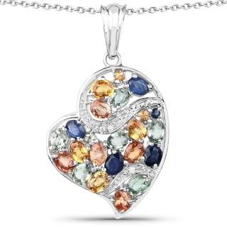 Malaika Sterling Silver Genuine Multi Sapphire Pendant