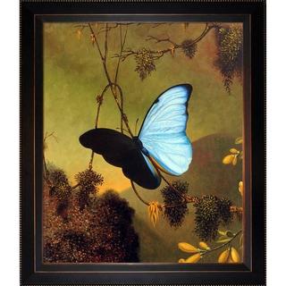 Martin Johnson Heade 'Blue Morpho Butterfly' Hand Painted Framed Canvas Art