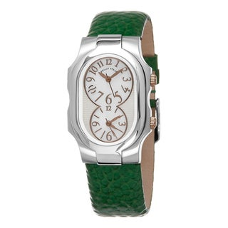 Philp Stein Women's 1-MOPRG-CGG 'Signature' Mother of Pearl Dial Green Leather Strap Quartz Watch