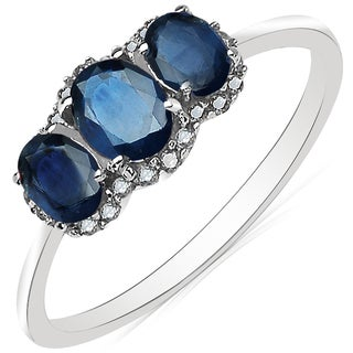10k White Gold Olivia Leone Genuine 1ct Blue Sapphire & White Diamond Accent Ring