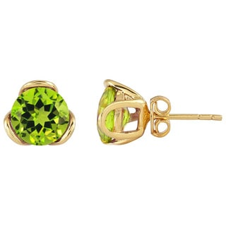 Yellow Gold Plated Sterling Silver Peridot Stud Earrings
