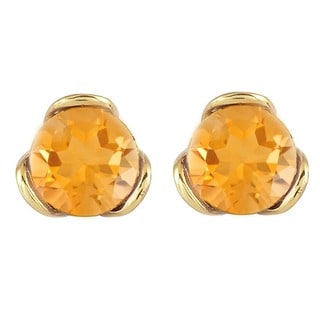 Yellow Gold Plated Sterling Silver Citrine Stud Earrings