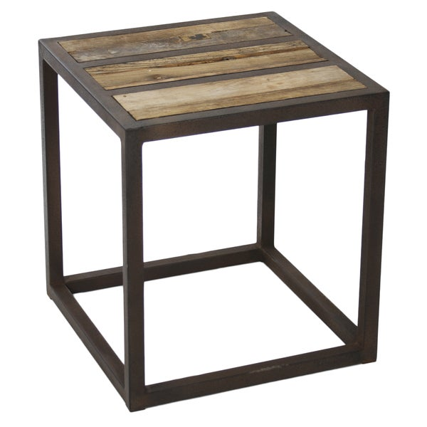 Reclaimed Elm and Metal End Table