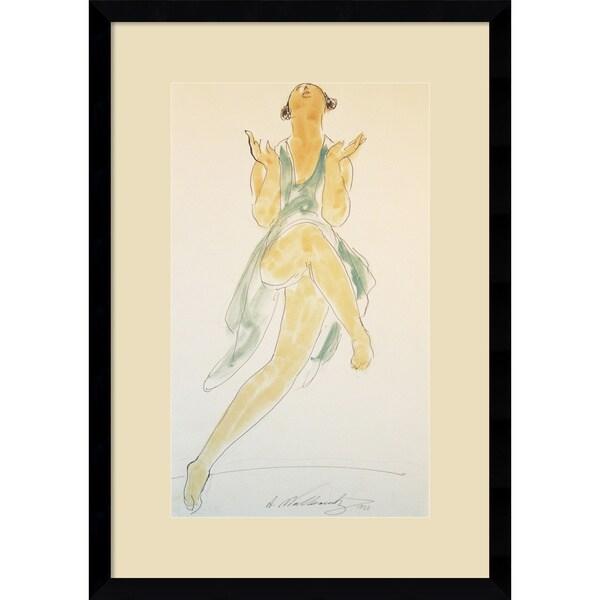 Walkowitz 'Isadora Duncan, in Green, Dancing' Framed Art Print 15x21-in