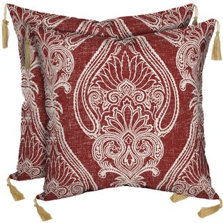 Bombay Outdoors Delhi Paisley Square Toss Cushion Pillow with Tassels (Set of 2)