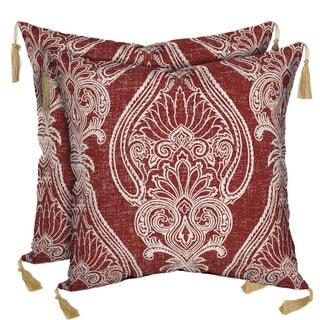 Bombay Outdoors Delhi Paisley/ Kenya Reversible Square Toss Cushion Pillow with Tassels (Set of 2)