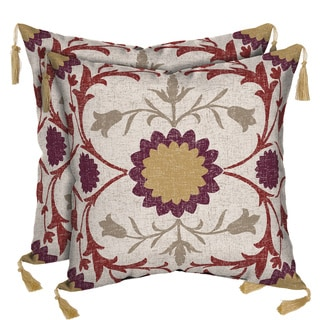 Bombay Outdoors Turkish Garden/ Kenya Reversible Square Toss Cushion Pillow with Tassels (Set of 2)
