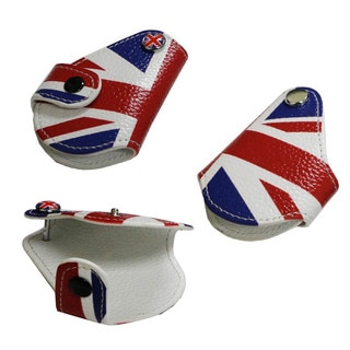 iJDMTOY Red Blue Union Jack Leather Key Fob Holder For 2008-up MINI Cooper