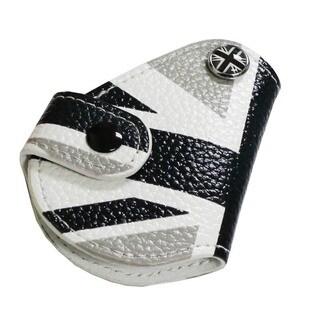 iJDMTOY Black White Union Jack Leather Key Fob Holder for 2008-up MINI Cooper