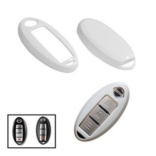 iJDMTOY Exact Fit White Gloss Metallic Key Fob Cover For Nissan