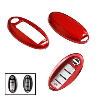iJDMTOY Exact Fit Red Gloss Metallic Key Fob Cover For Nissan