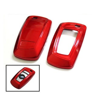 iJDMTOY Exact Fit Red Gloss Metallic Key Fob Cover For BMW