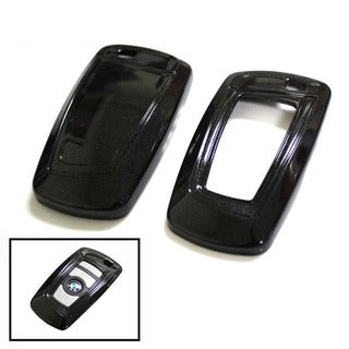 iJDMTOY Exact Fit Black Gloss Metallic Key Fob Cover For BMW