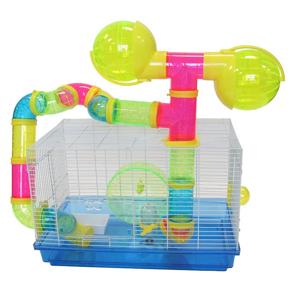 YML Premium Hamster Cage With Dual Exercise Balls and Tubes