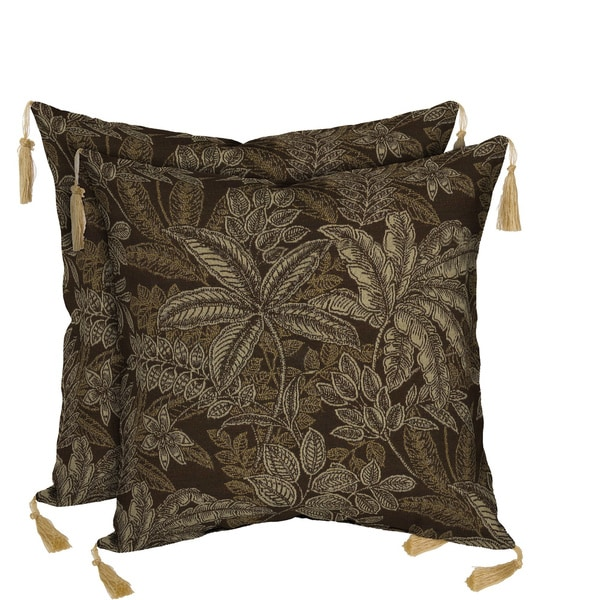 Bombay Outdoors Palmetto Espresso Reversible/ Zebra Reversible Square Toss Cushion Pillow with Tassels (Set of 2)