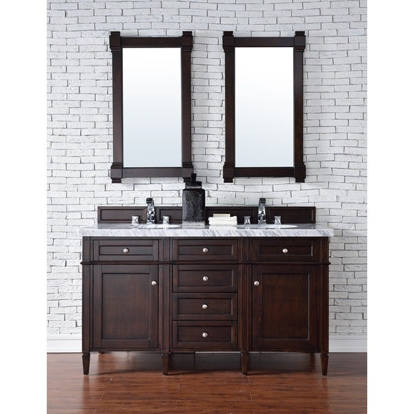 Silkroad exclusive granite top 55 inch double sink vanity cabinet - Brittany 60 Inch Double Cabinet Burnished Mahogany
