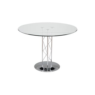 "Trave 42"" Dining Table - Clear Glass/Chrome Column/Chrome Base"