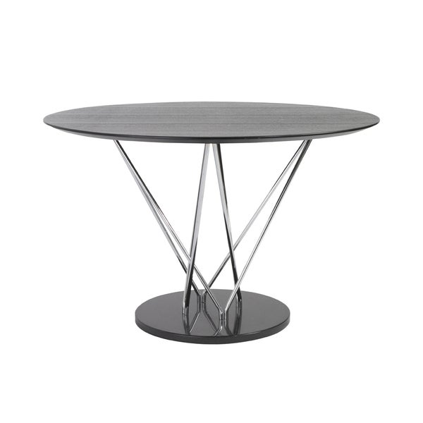 Stacy Round Dining Table - Black/Ebony/Chrome