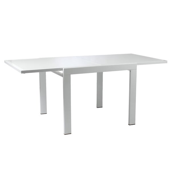 Duo Square Extension Table - Pure White/Chrome