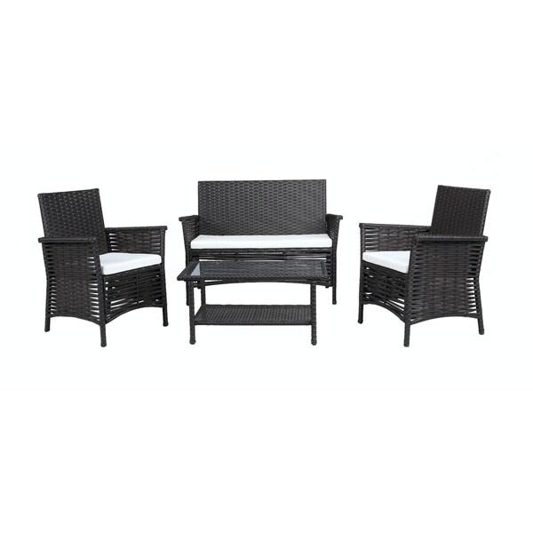 Baner Garden Outdoor Furniture Complete Patio 4-piece Cushion PE Wicker Rattan Garden Set, Black