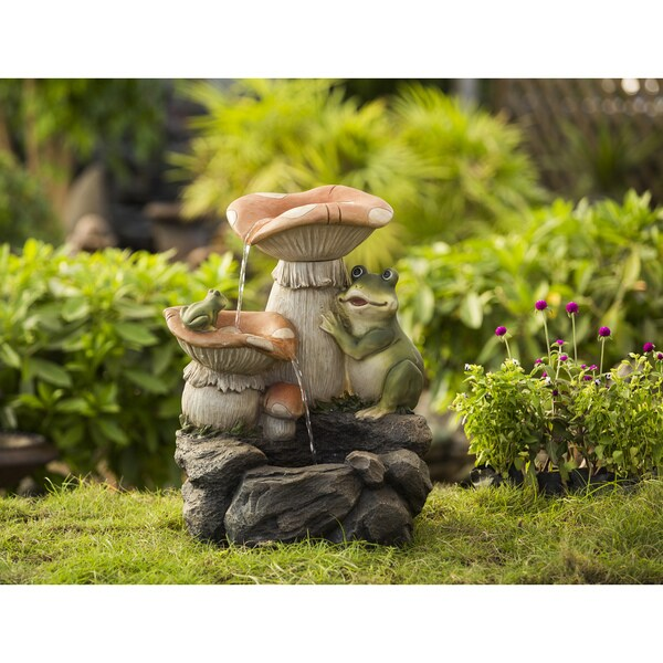 Jeco Frog Playing On Mushroom Water Fountain