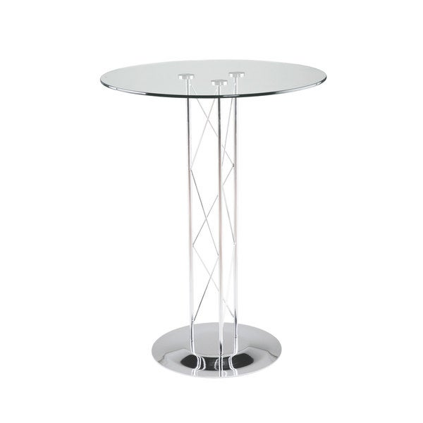 Trave 32 Inch Bar Table Clear Glass/ Chrome Column/ Chrome Base
