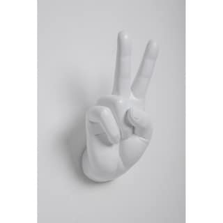 "Interior Illusions Plus White Peace Hand Wall Mount - 8.5"" tall"
