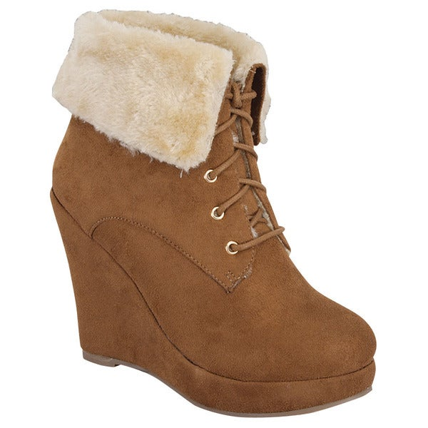 Beston FEW34 Women's Stylish Wedge Heel Faux Fur Collar Ankle Snow Booties