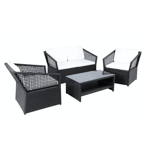 Baner Garden Outdoor Furniture Complete Patio 4-piece PE Wicker Rattan Garden Set, Black