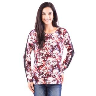 DownEast Basics Women's Long-Sleeve Floral Blouse