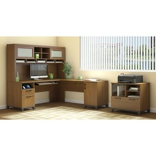 L Desk with Hutch and Lateral File Printer Stand