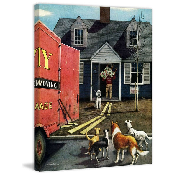 "Marmont Hill - ""New Dog in Town"" by Stevan Dohanos Painting Print on Canvas"