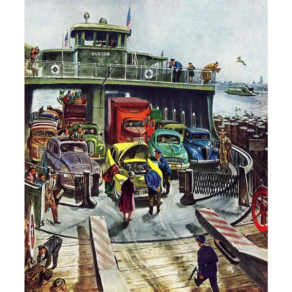 "Marmont Hill - ""Hudson Ferry"" by Thornton Utz Painting Print on Canvas"